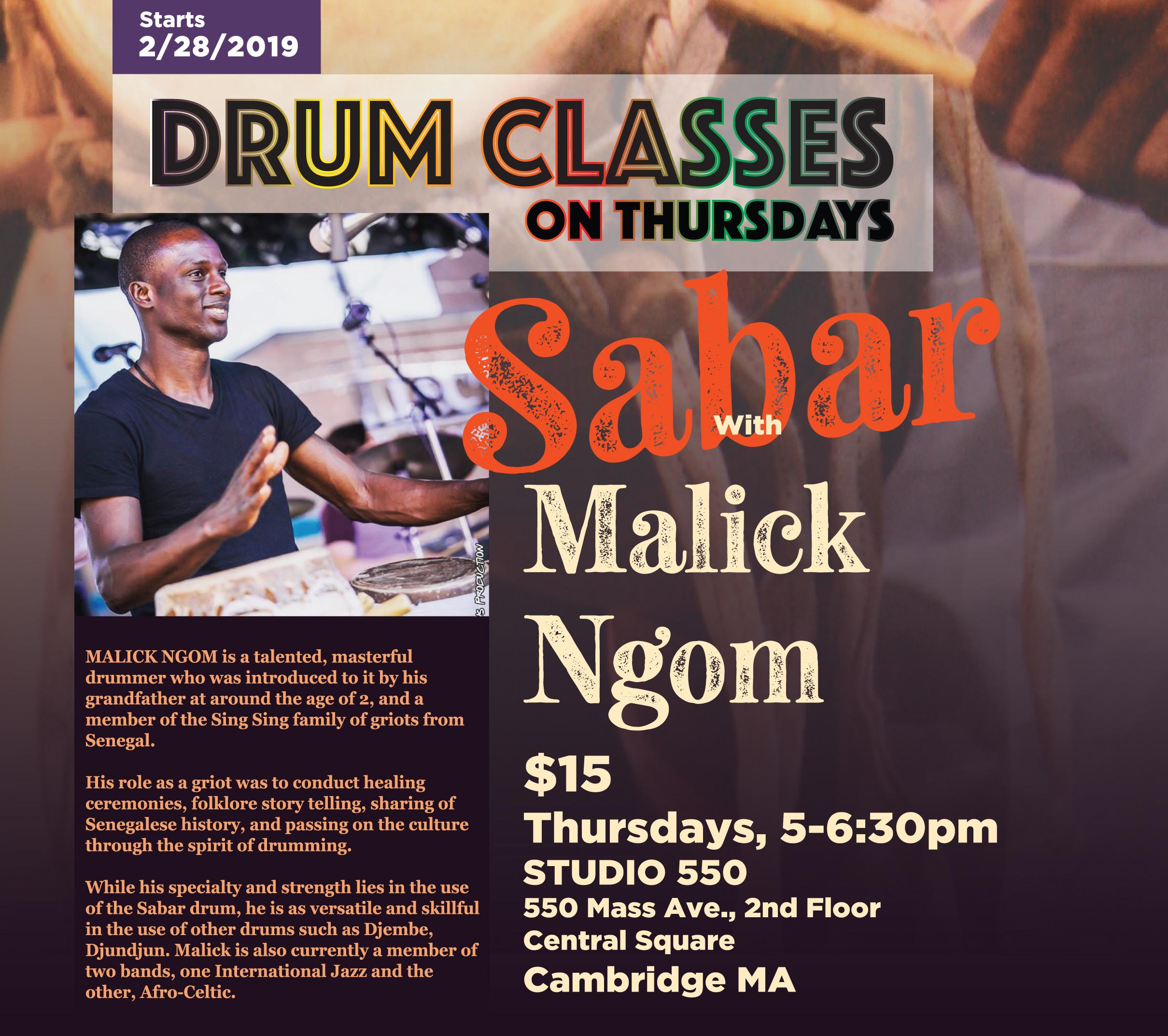 Sabar Drum Class with Malick Ngom